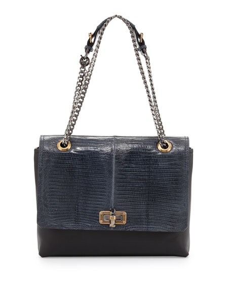 Happy Medium Lizard-Flap Bag, Blue