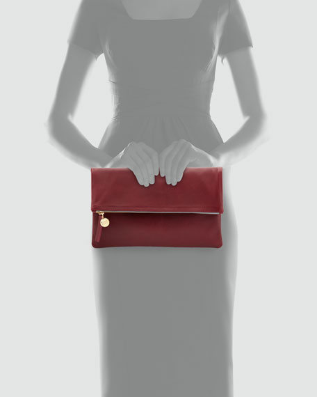 Leather Foldover Clutch, Burgundy