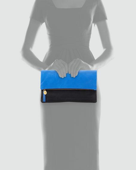 Colorblock Leather Foldover Clutch, Blue/Black