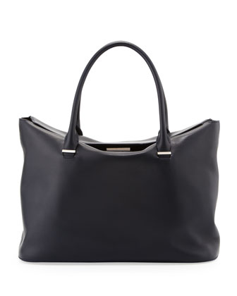 The Carry All Leather Tote Bag, Navy