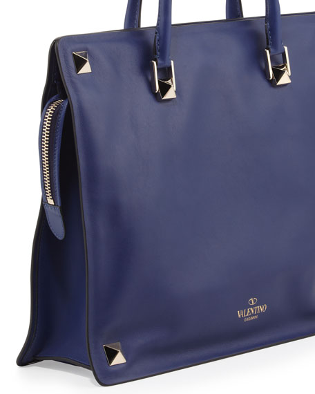 Rockstud Runway Large-Stud Leather Tote Bag, Royal