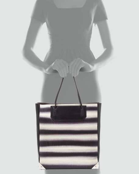 Prisma Striped Snakeskin Tote Bag, Black/White