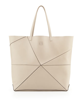 Lia Origami Leather Tote Bag, Beige