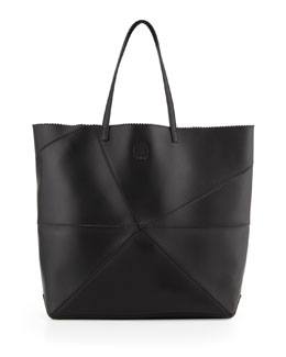 Loewe Lia Origami Leather Tote Bag, Black