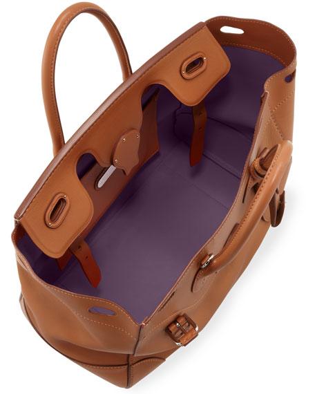 Soft Ricky 33 Calfskin Satchel Bag Light Brown