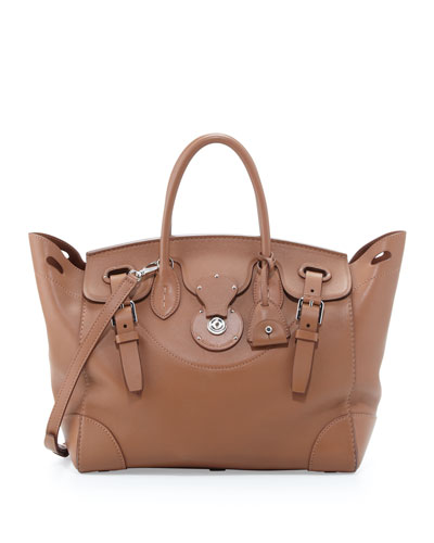 Soft Ricky 33 Calfskin Satchel Bag Light Brown