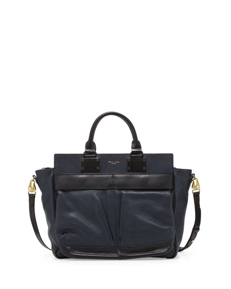 Rag & Bone Pilot Large Leather Satchel Bag, Navy
