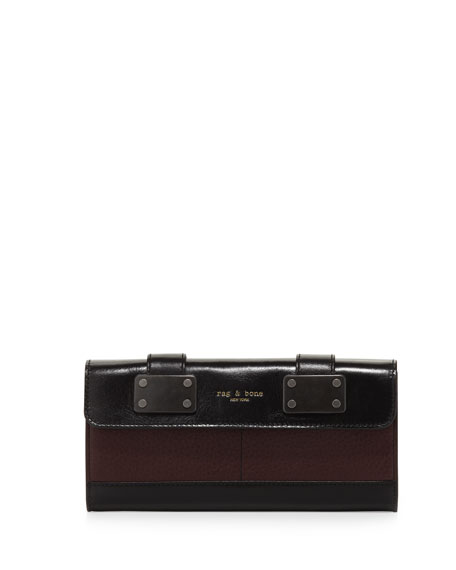 Two-Tone Continental Flap Wallet, Wine