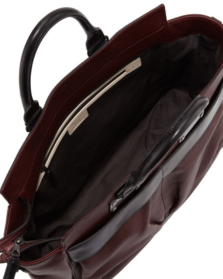 Pilot Large Leather Satchel Bag, Wine