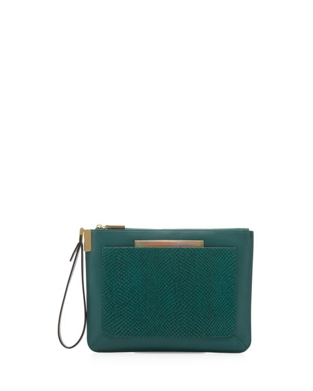 Ishi Snake-Print Leather Wristlet, Emerald