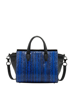 Alexander Wang Pelican Mini Snakeskin Satchel Bag, Blue