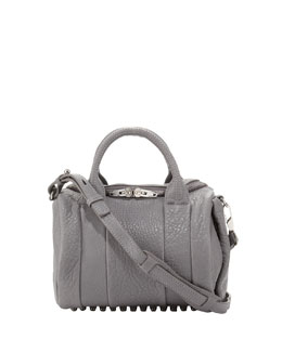 Alexander Wang Rockie Dumbo Pebbled Satchel Bag, Gray