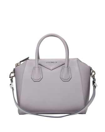Antigona Small Sugar Goatskin Satchel Bag, Light Gray