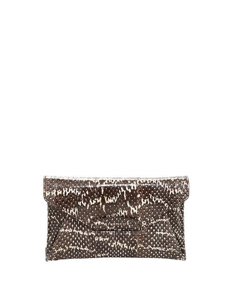 406931d2edc Givenchy Antigona Small Snakeskin Envelope Clutch Bag, Black