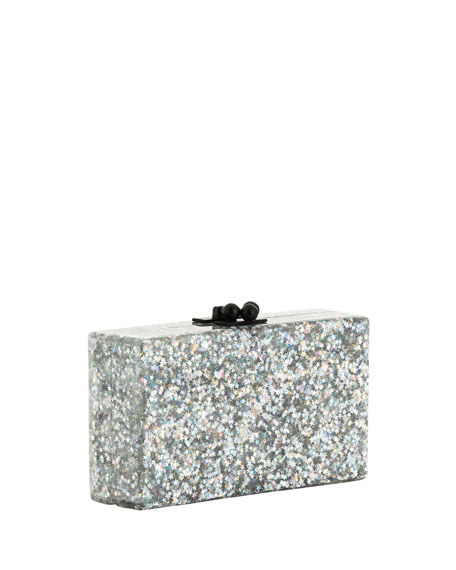Jean Retro Stripe Confetti Acrylic Clutch Bag, Silver