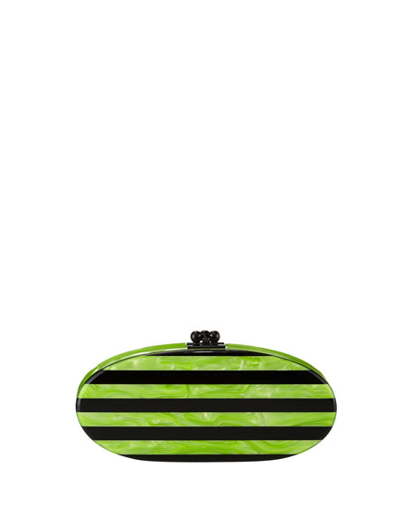 Edie Striped Acrylic Clutch Bag, Lime