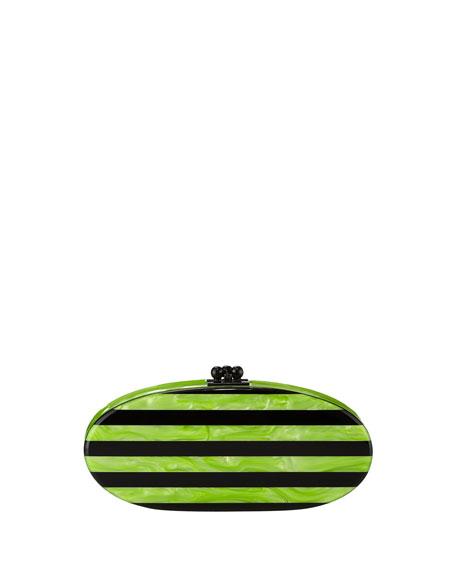 Edie Striped Acrylic Clutch Bag, Lime