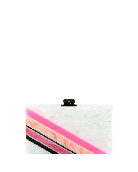 Jean Retro Stripe Acrylic Clutch Bag, Bright Pink