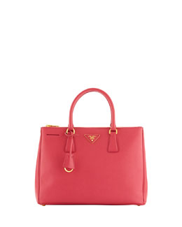 Prada Saffiano Medium Double-Zip Executive Tote with Strap, Fuchsia