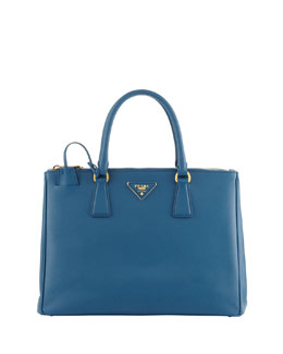 Prada Saffiano Medium Double-Zip Executive Tote with Strap, Turquoise Aqua