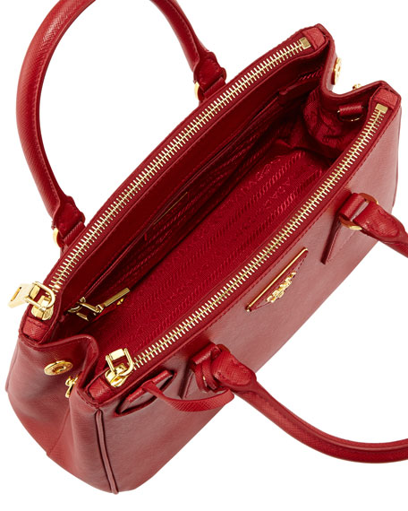 Prada Saffiano Baby Executive Tote Bag with Strap, Red
