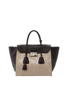 Prada Bicolor Glace Calf Tote Bag, Light Gray