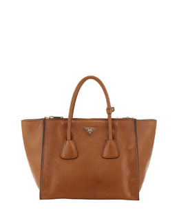 Prada Glace Twin-Pocket Leather Shopper Tote, Light Brown