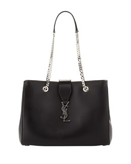 Saint Laurent Cassandre Chain-Strap Shopper Bag, Black/Silver