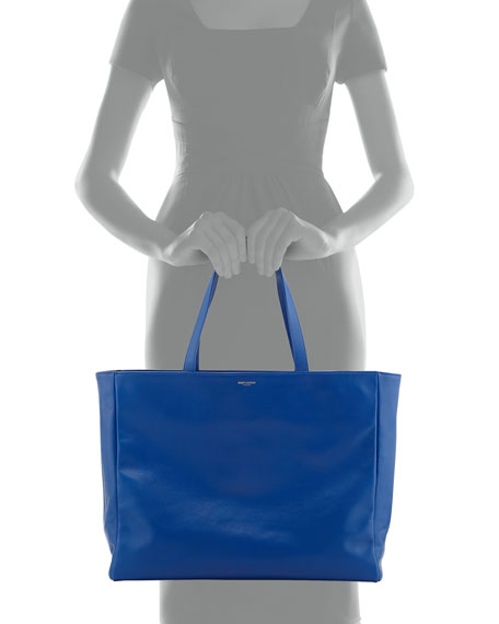 Reversible East-West Shopper Tote Bag, Royal/Black