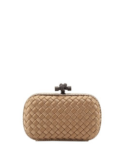 Bottega Veneta Satin-Snakeskin Knot Minaudiere, Light Brown