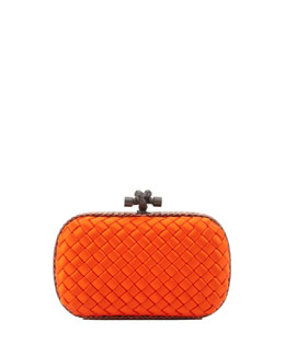Bottega Veneta Satin-Snakeskin Knot Minaudiere, Orange