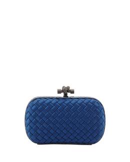 Bottega Veneta Satin-Snakeskin Knot Minaudiere, Blue