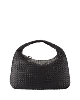 Bottega Veneta Veneta Large Waves Hobo Bag, Black