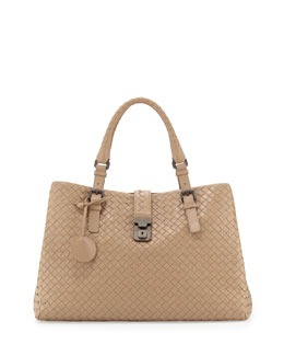 Bottega Veneta Roma Triple-Compartment Tote Bag, Brown