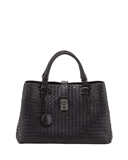 Bottega Veneta Roma Triple-Compartment Tote Bag, Black