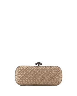 Bottega Veneta Satin-Snakeskin Stretch Knot Minaudiere, Light Brown