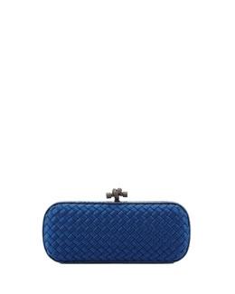 Bottega Veneta Satin-Snakeskin E/W Knot Minaudiere, Blue