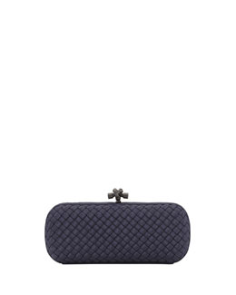 Bottega Veneta Woven Faille Large Knot Clutch Bag, Blue