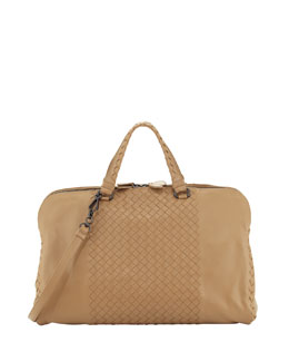 Bottega Veneta Leggero Double-Zip Satchel Bag, Light Brown