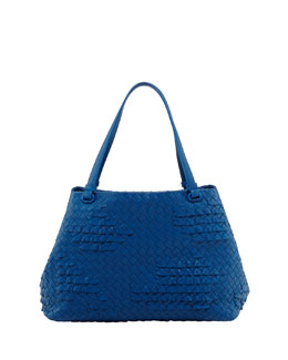 Bottega Veneta Small Waves Ruffle Tote Bag, Blue