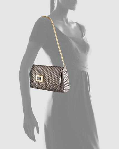 Solid Metallic Woven Clutch Bag, Silver