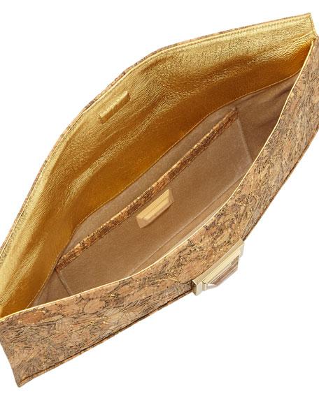 Super Stretch Prunella Embossed Cork Clutch Bag, Gold