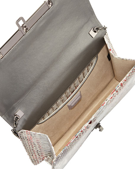 Priscilla Speckled Python Clutch Bag, Gray