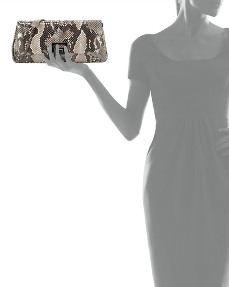 Honor Zigzag Python Clutch Bag, Anthracite