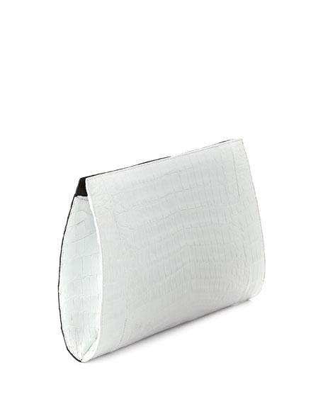 Razor Bicolor Crocodile Clutch Bag, Black/White