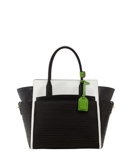 Reed Krakoff Atlantique Leather and Raffia Tote Bag, Black/white