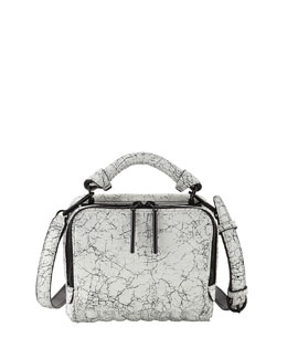 3.1 Phillip Lim Ryder Small Cracked Leather Crossbody Bag, Black/White