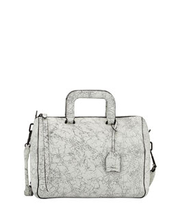 3.1 Phillip Lim Wednesday Medium Cracked Leather Satchel Bag, Black/White