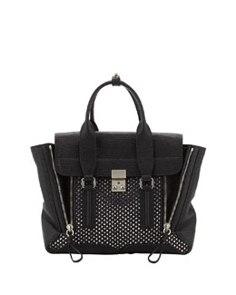 3.1 Phillip Lim Pashli Medium Woven-Panel Satchel Bag, Silver/Black