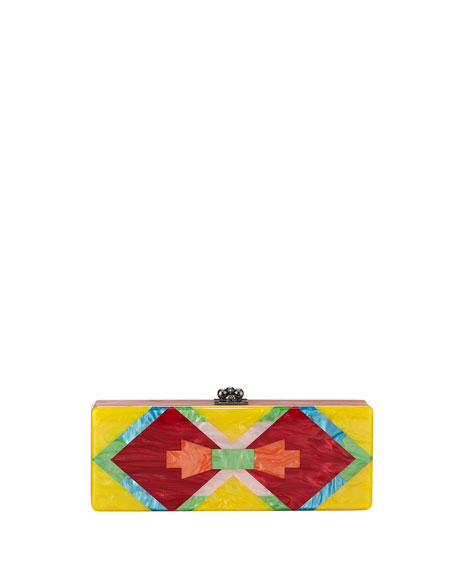 Flavia Tribal Acrylic Clutch Bag, Yellow